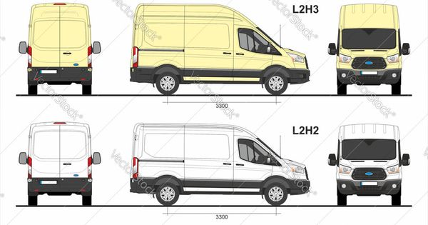 Ford Transit Cargo Van L2h2 And L2h3 2014 Present Vector Image On Vectorstock Ford Transit Van Cargo