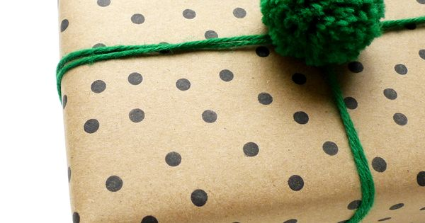 butcher paper + black dots + emerald green pompom