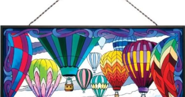 Joan Baker Designs Apm207 Hot Air Balloons Glass Art Panel 19 1 2 By 10 1 2 Inch Glass Window Art Stained Glass Fireplace Screen Stained Glass Art