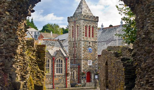 The town of Launceston, Cornwall, England. Taken from the castle, built in