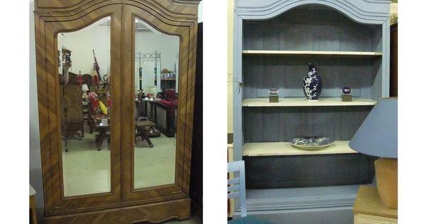 Ancienne Armoire Relookee En Bibliotheque Mobilier De Salon Relooking Meuble Deco Maison