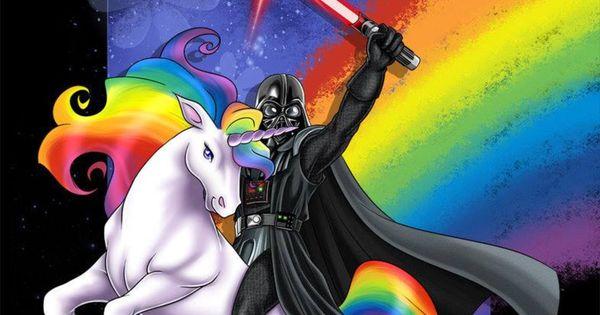Darth Vader on a rainbow unicorn | Starwars | Pinterest ...