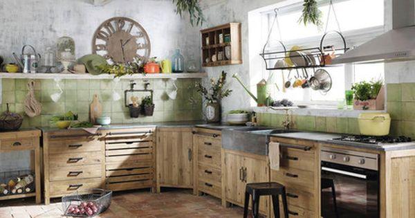 meuble bas de cuisine en bois recycl l 140 cm pagnol maisons du monde d co pinterest. Black Bedroom Furniture Sets. Home Design Ideas