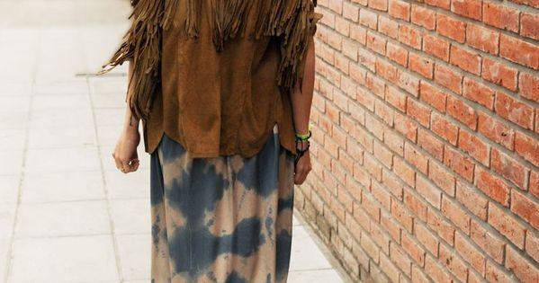 long floral boho dress with suede fringe jacket inspiracin boho tnico pinterest boho fringe jacket and boho dress