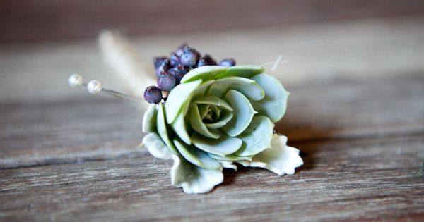 #succulents boutonniere Photography by jennabeth.com Wedding Planning by leftwichevents.com Read more -