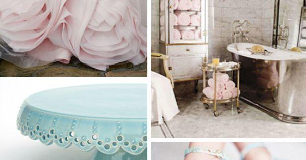 Color scheme. Blush, carnation, aquamarine and mercury...... Love those shoes!