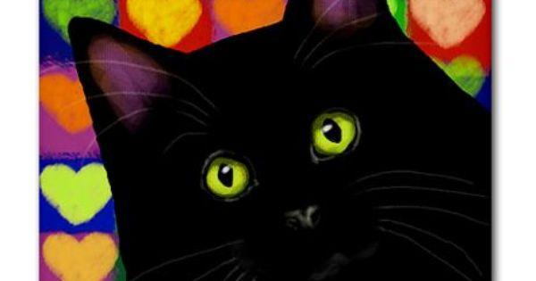 BLACK CAT VALENTINE HEARTS Tile Coaster | Valentines, Cats ...