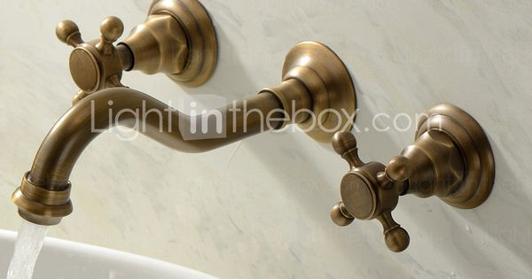82 49 Two Handles Bathroom Faucet Wall Mounted Three Holes Widespread Centerset Brass Bathroom Sink Faucet Contain With Cold And Hot Water Badezimmer Waschbecken Messing Badezimmer Waschbecken Armaturen