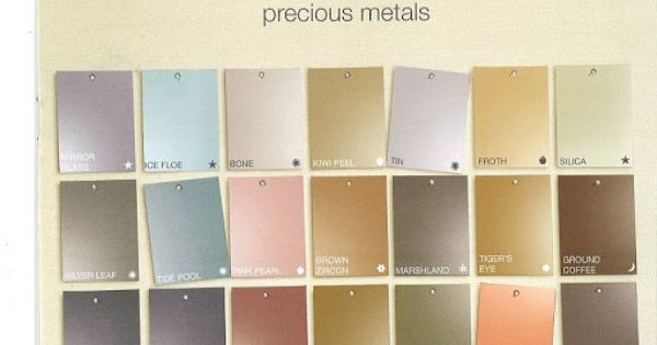 Martha stewart 39 s precious metals paint color chart for Color charts for painting walls