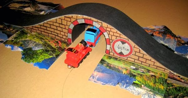 Cardboard Train Tunnel Bridge Tracks For Thomas Back Of