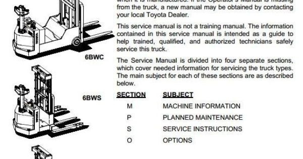 Toyota Electric Truck 6bwc10 6bwc15 6bwc20 6bws11