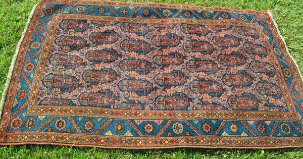 antique persian rug fine malayer w boteh design pisley rug size 4x6 navy blue pink. Black Bedroom Furniture Sets. Home Design Ideas