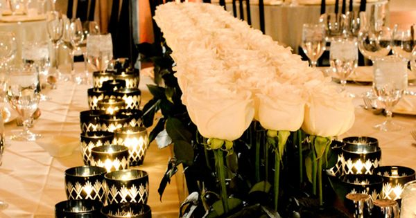 centerpieces - long tables - black and white
