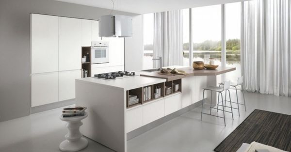 puristische weiße küche kochinsel arbeitsplatte massivholz