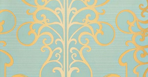 Papel pintado rs71405 con fondo de rayas horizontales poco for Papel pintado color turquesa