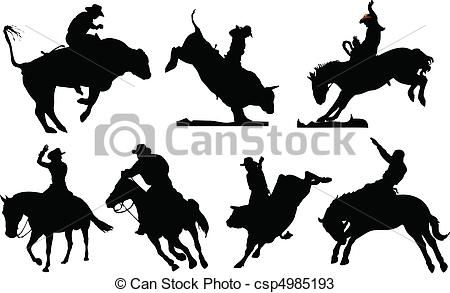 Vectors Of Seven Rodeo Silhouettes Black And White Vector Illustration Csp4985193 Search Clip Art Illustration Drawings Rodeo Silouette Art Western Artwork