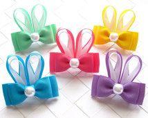 Handmade Easter Bunny ribbon bow alligator clip Hair Bow Clip