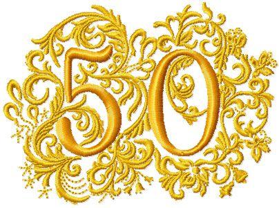 Th anniversary embroidery design applique