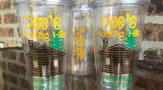 Cabin in the woods bachelorette party tumbler 16 by for Cabin bachelor party