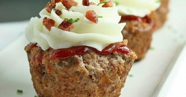 "meatloaf cupcakes. with mashed potatoes as the ""icing"". Very good recipe. Kids"