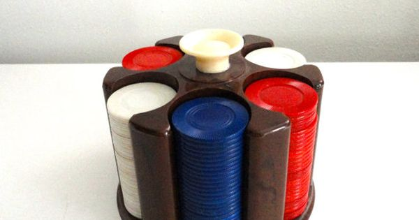 Poker Chips And Poker Chip Caddy In Marbled Celluloid