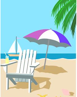 Tropical Beach Chair Clip Art Beach Illustration Beach Umbrella Art Beach Clipart