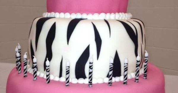 Gabby's 12th Birthday Cake. Pink and Zebra striped
