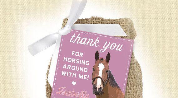 Horse Girl Birthday Favor Tags Printable by sunnysideprintparty, $6.00
