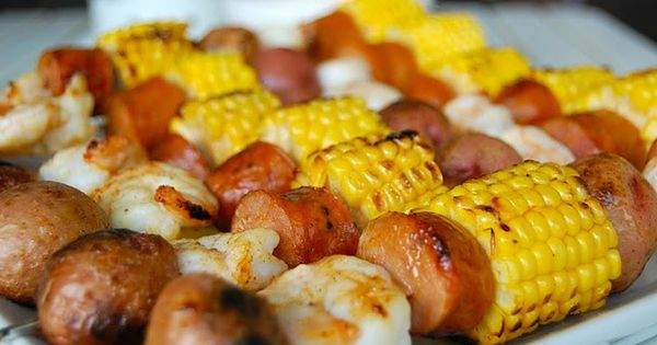 An easy, summer dinner - low country boil kebabs. Shrimp, sausage, corn
