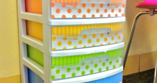 Clutter-Free Classroom: DECORATED PLASTIC DRAWERS with scrapbook paper.
