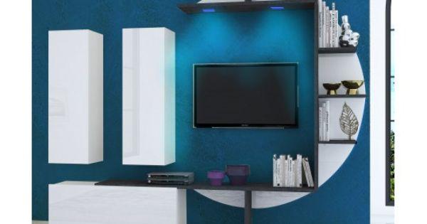 Meuble Tv Mural Design Lumineux Zen En Blanc Laque De Qualite Et Marbre Modern Tv Wall Modern Tv Wall Units Tv Wall Unit