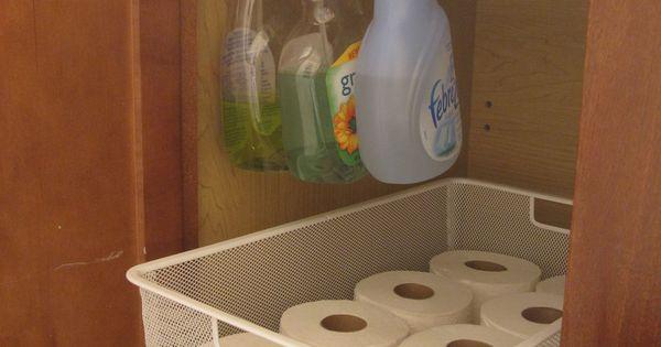 Tension rod for spray bottles! organization, bathroom, kitchen, under sink, cleaning, paper