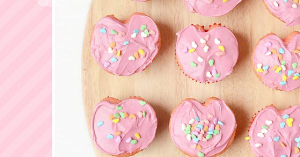 Cupcake Recipes : Strawberry Heart-Shaped Birthday Cupcakes