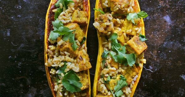 Curry-stuffed delicata squash | om nom nom | Pinterest | Tofu Curry ...