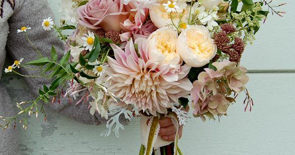 Dahlias and David Austin roses Wedding bouquet.