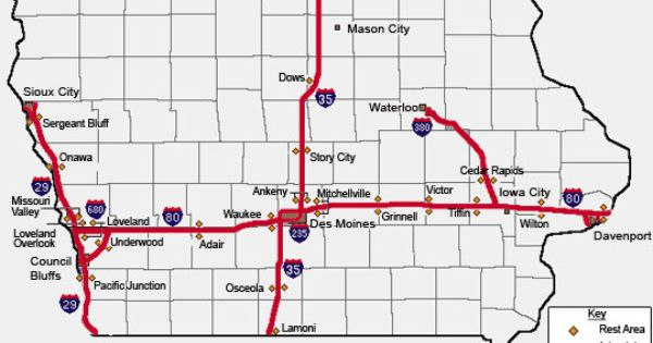 Iowa Interstate Rest Areas Features And Services Mason City Iowa Rest Area