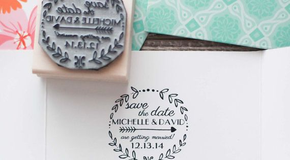 Save The Date Rubber Stamp Wedding Invitation Rubber
