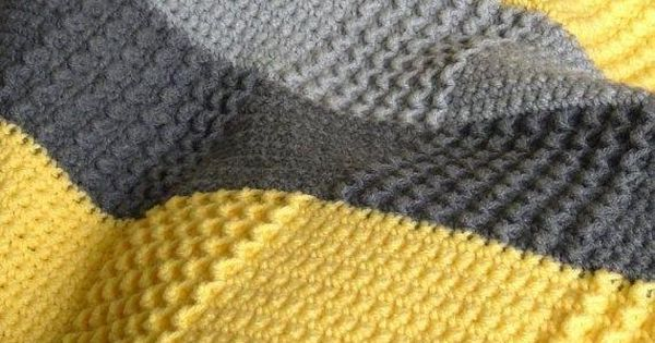 Crochet Baby Afghan Yellow White Dk Grey Purple And