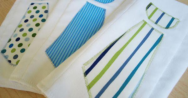 Baby boy tie burp cloths - DIY - If I ever get