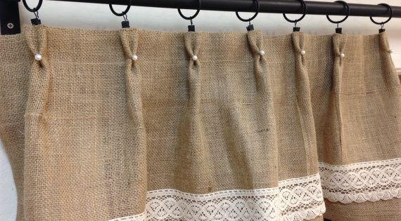 Perla y arpillera de visillos cortinas cortas cortinas - Cortinas de arpillera ...