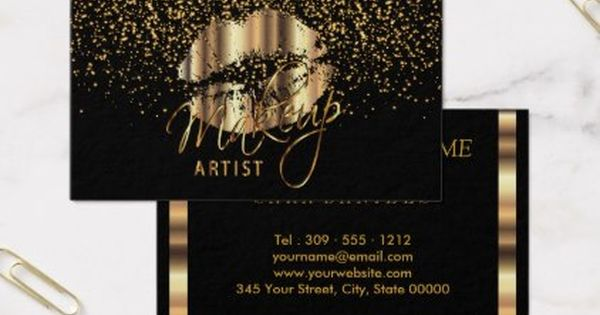 Makeup Artist With Gold Confetti Gold Metal Lips Business Card Zazzle Com Glitter Business Cards Beauty Business Cards Makeup Artist Business Cards