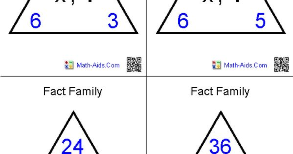 multiplication and division fact family flash cards math aids com pinterest fact families. Black Bedroom Furniture Sets. Home Design Ideas