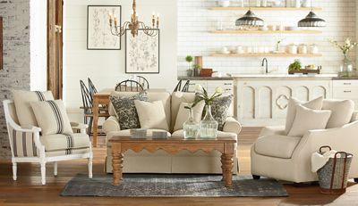 Magnolia Home  Farmhouse living room furniture, Magnolia homes