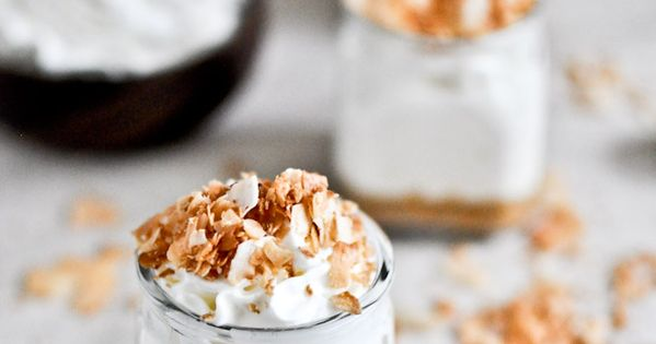 no bake coconut cream cheesecakes with goat cheese