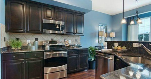 Best Kitchen Idea 1 Bright Blue Wall Dark Cabinet Weathered 400 x 300