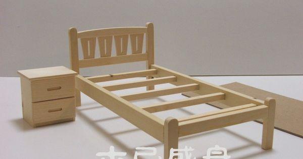 Solid Wood Assembled Model Diy Doll Small Bed Bedside Cabinet 1 6 Barbie Can Children Bjd