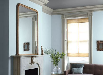 Different color scheme! Ah! Love the crown molding and the dark ceiling