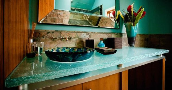 Bathroom Glass Countertops You Can Underlight The Top