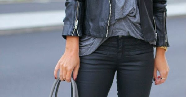 Black outfit, black pants, leather jacket, black pumps, street style, black and