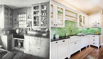 1920s And Current Kitchen Style Backsplash And Cabinets